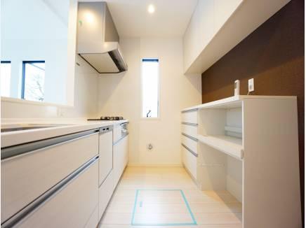 食器洗浄機付きのシステムキッチン。