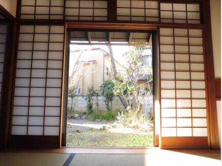 室内からお庭の松の木を望みます。とても落ち着く空間です