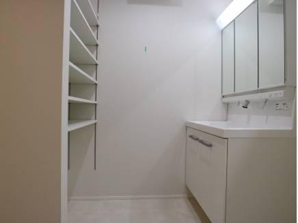 備え付けの棚がつかいやすそうな洗面室。