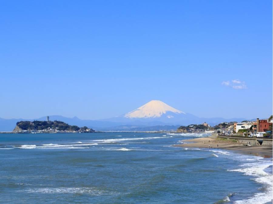稲村ケ崎公園からは江の島と富士山が望めますよ
