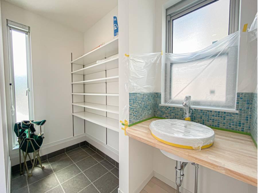 玄関横のSICと手洗いコーナー
