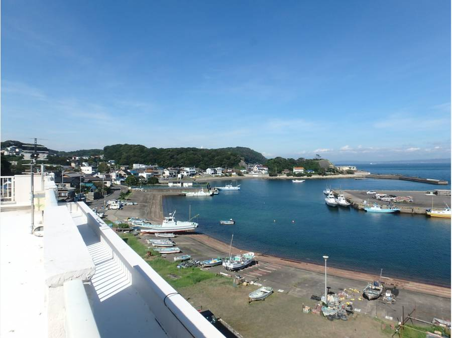 マンション屋上から見える港