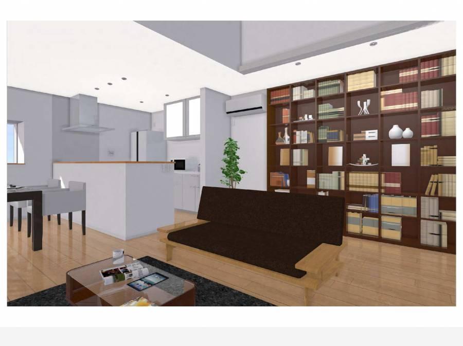 LDKイメージパース(家具や本棚はイメージです)