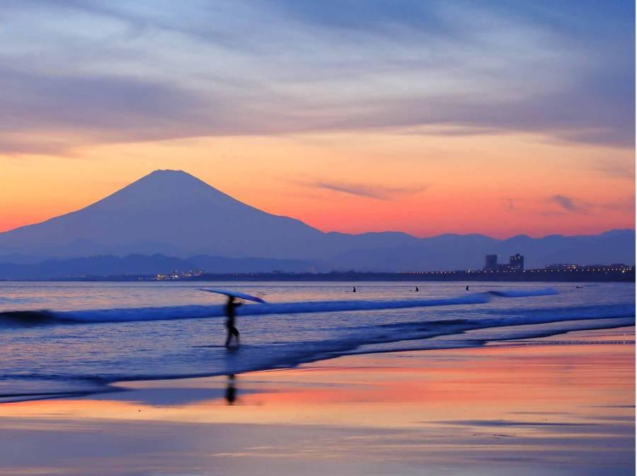 富士山の見えるビーチまで自転車ですぐです