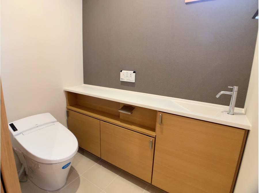 収納、手洗い完備のトイレ
