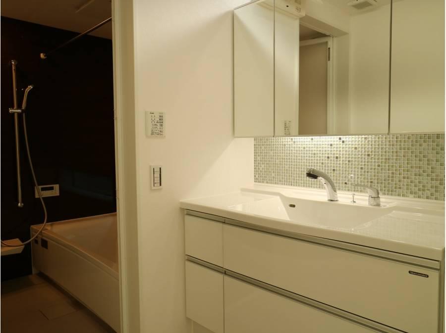 広い洗面室とバスルーム。