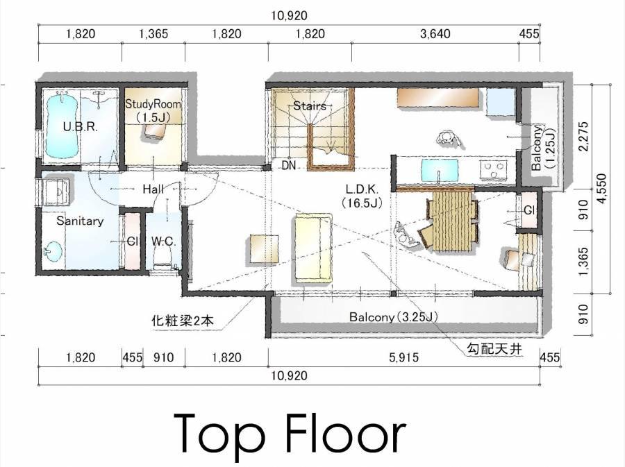 2F参考間取り図。LDKと水回りを集約。建築費2000万円のプランです。