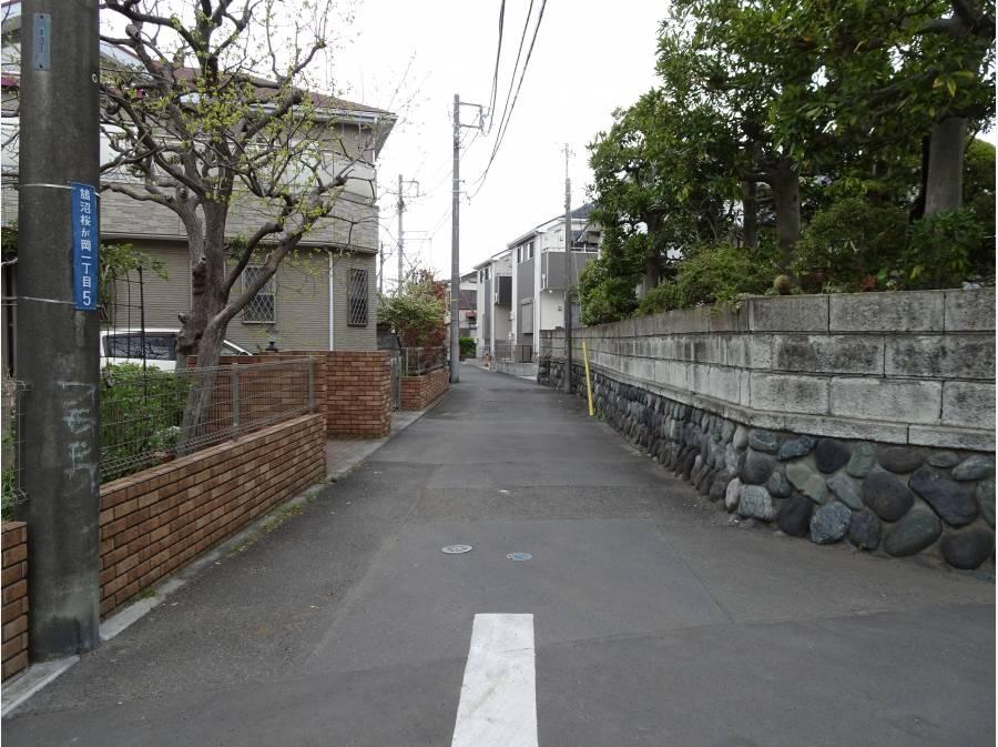 前面道路、敷地を背にして正面