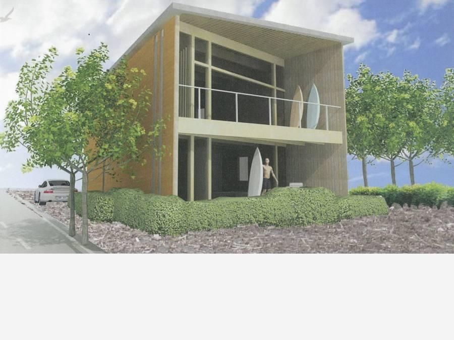 ローカルファースト研究会の当該敷地企画・ビーチライフハウス予想図。