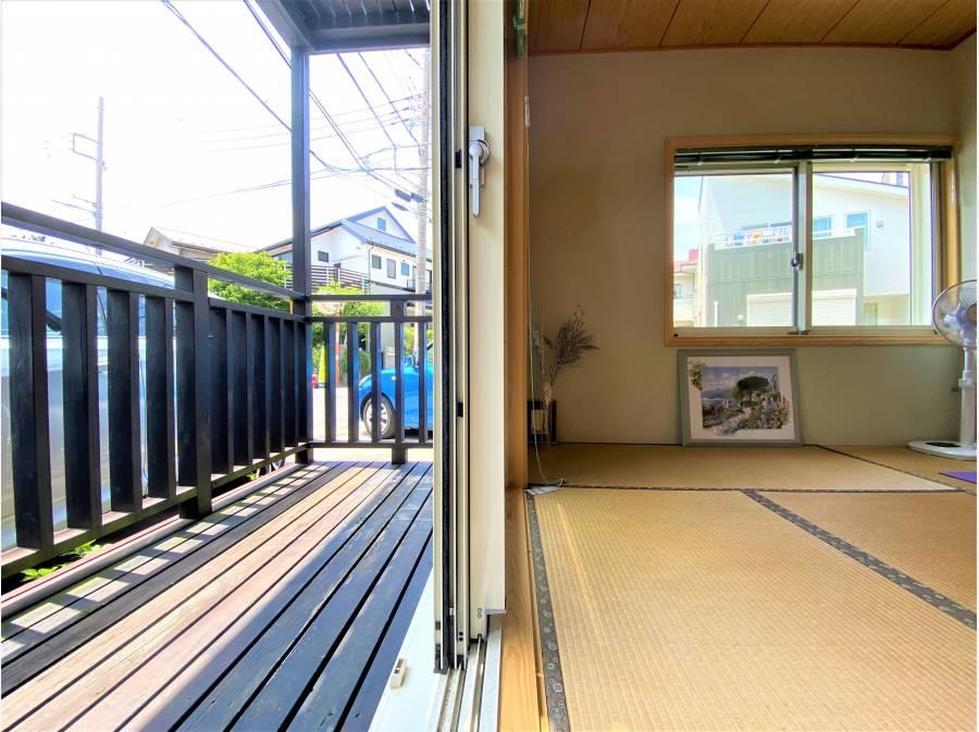 1Fにもウッドデッキが隣接しております。日本人はやはり和の空間が必要です!