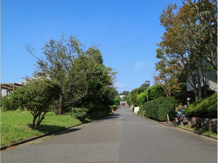 敷地東側道路を撮影~ゆったりとしたA街区の街並み。