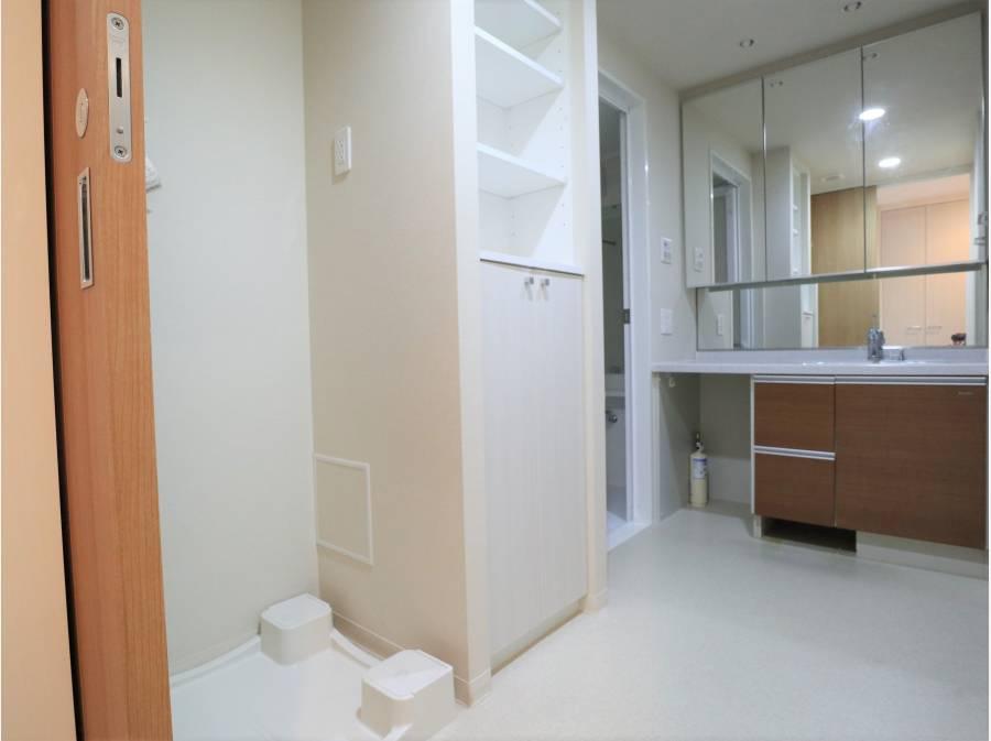 洗面所は収納スペースが豊富です。